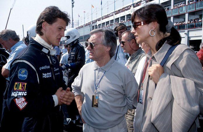 Bernie Ecclestone con Michael Schumacher e la ex-moglie Slavica Radic nel 1991