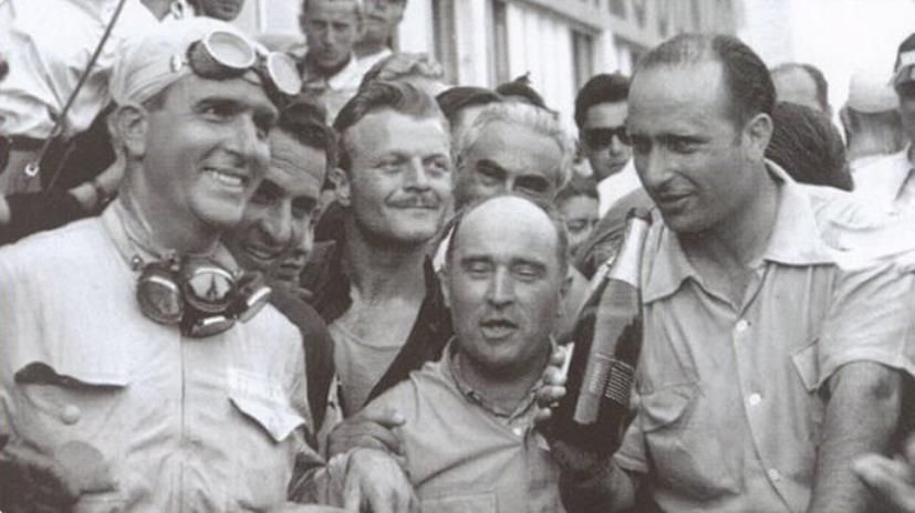 Nino Farina, Luigi Fagioli e Juan Manuel Fangio nel 1950