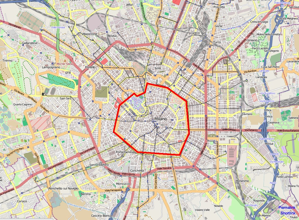 Mappa area c milano confini e informazioni utili for Pianta con la c